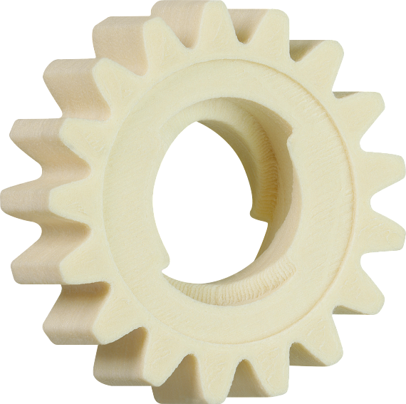 The replacement gear with the spindle geometry in its interior was ready to use within just a few hours of printing