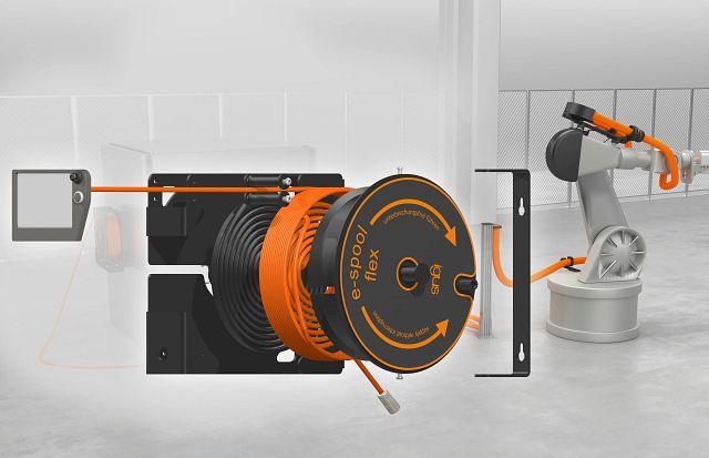 enrollador de cable e-spool para robótica