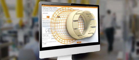 Un dibujo de un cojinete de fricción sale de la pantalla y se convierte en un cojinete iglidur real