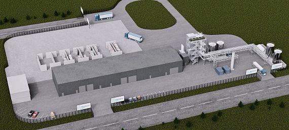 Maqueta de la nueva planta HydroPRS en el polígono industrial Wilton International
