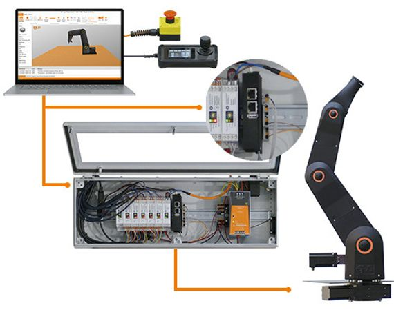 Robot control system with handheld display